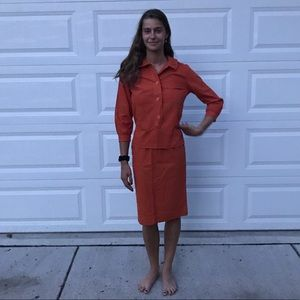 Vintage 1960s burnt orange 2 piece set